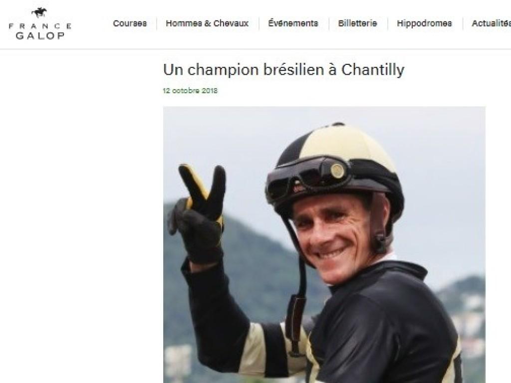 França: Jorge Ricardo assinará montarias para a próxima segunda-feira, em Chantilly